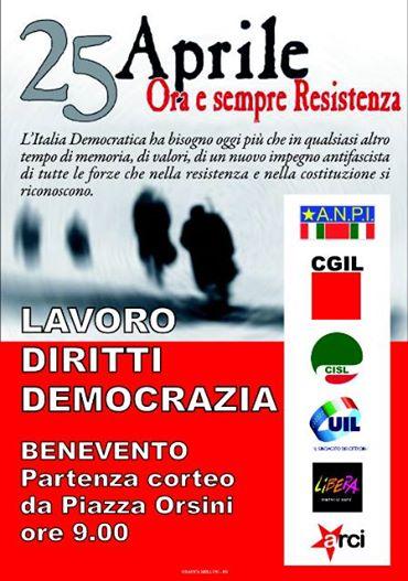 25 aprile, domani manifestazione di sindacati, Anpi e associazioni antifasciste