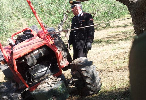 Incidente sul lavoro, un agricoltore muore schiacciato dal trattore a Faicchio