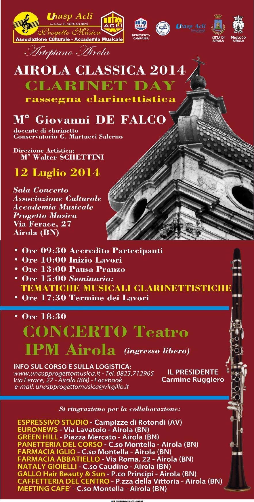 'Airola Classica 2014', al via sabato il 'Clarinet day'