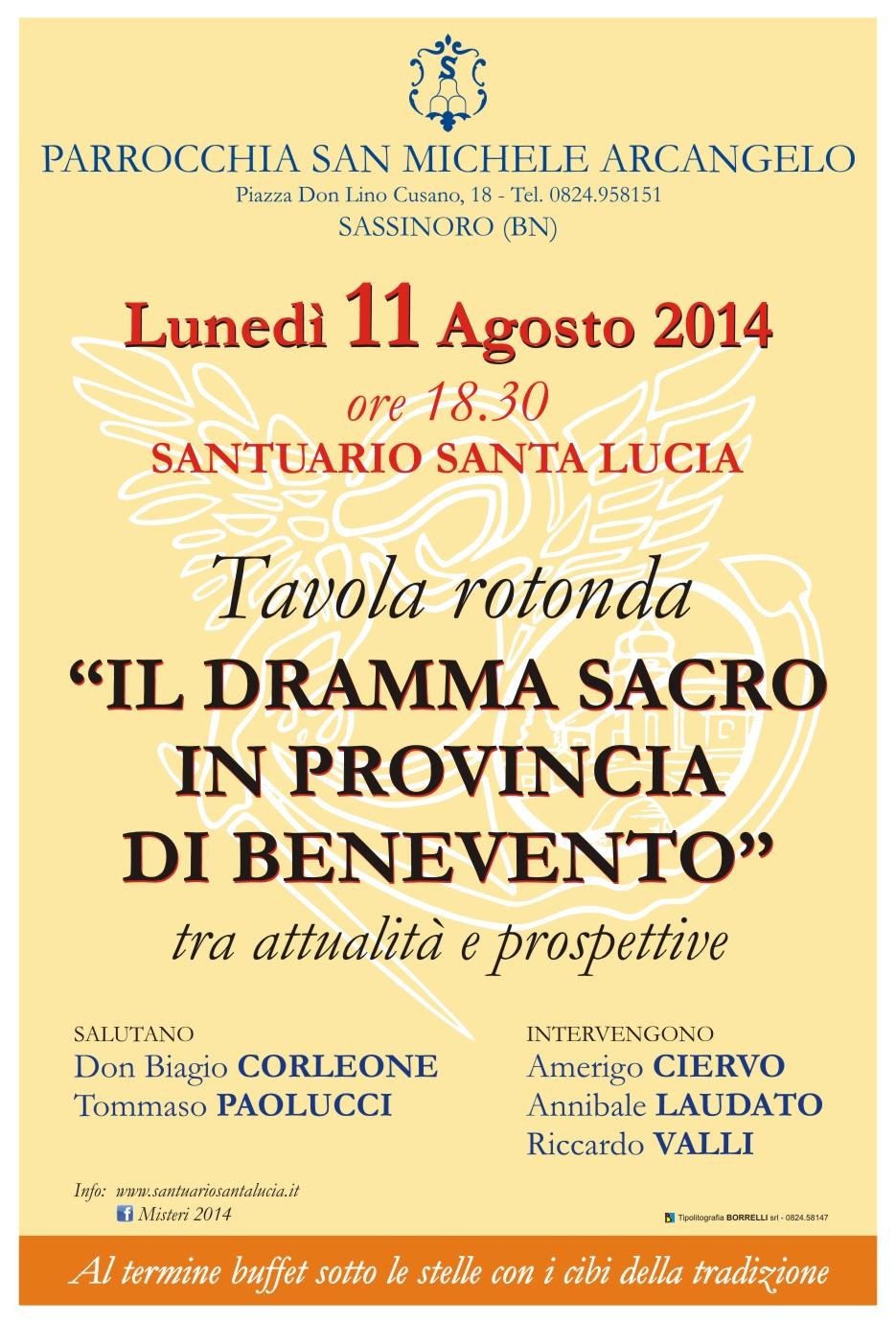 A Sassinoro la Tavola rotonda sul dramma sacro in provincia di Benevento