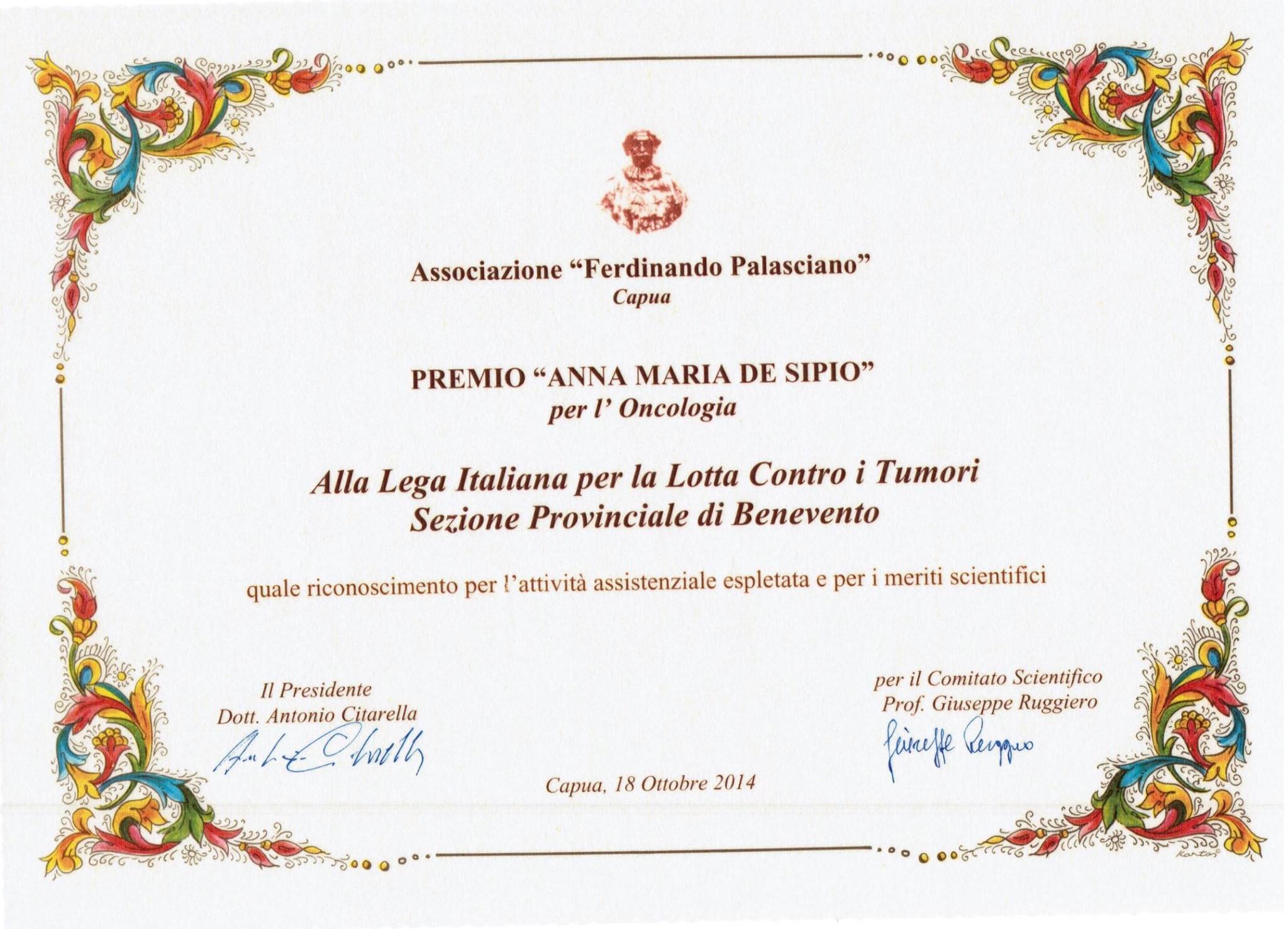 E' stato assegnato alla Lilt di Benevento il prestigioso premio 'Anna Maria De Sipio' per l'oncologia