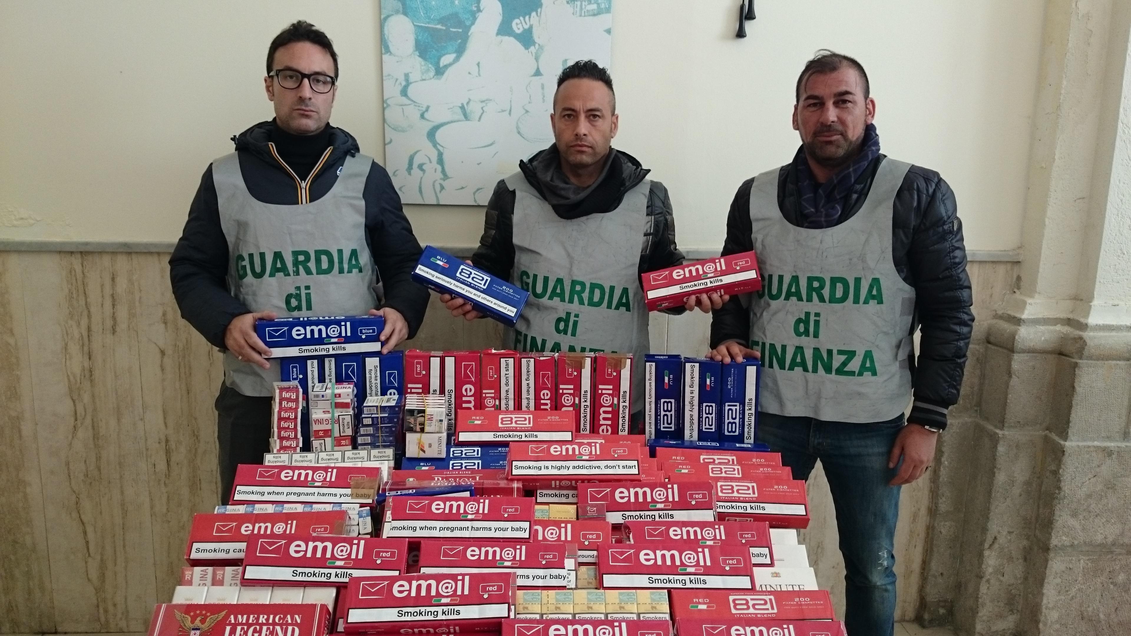 Sequestrate dai finanzieri 716 pacchetti di sigarette di contrabbando