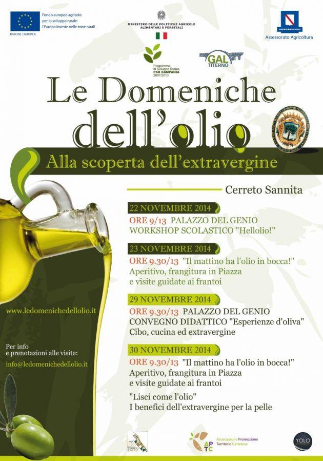 Appuntamento a Cerreto Sannita con le 'Domeniche dell'olio', fra degustazioni e workshop
