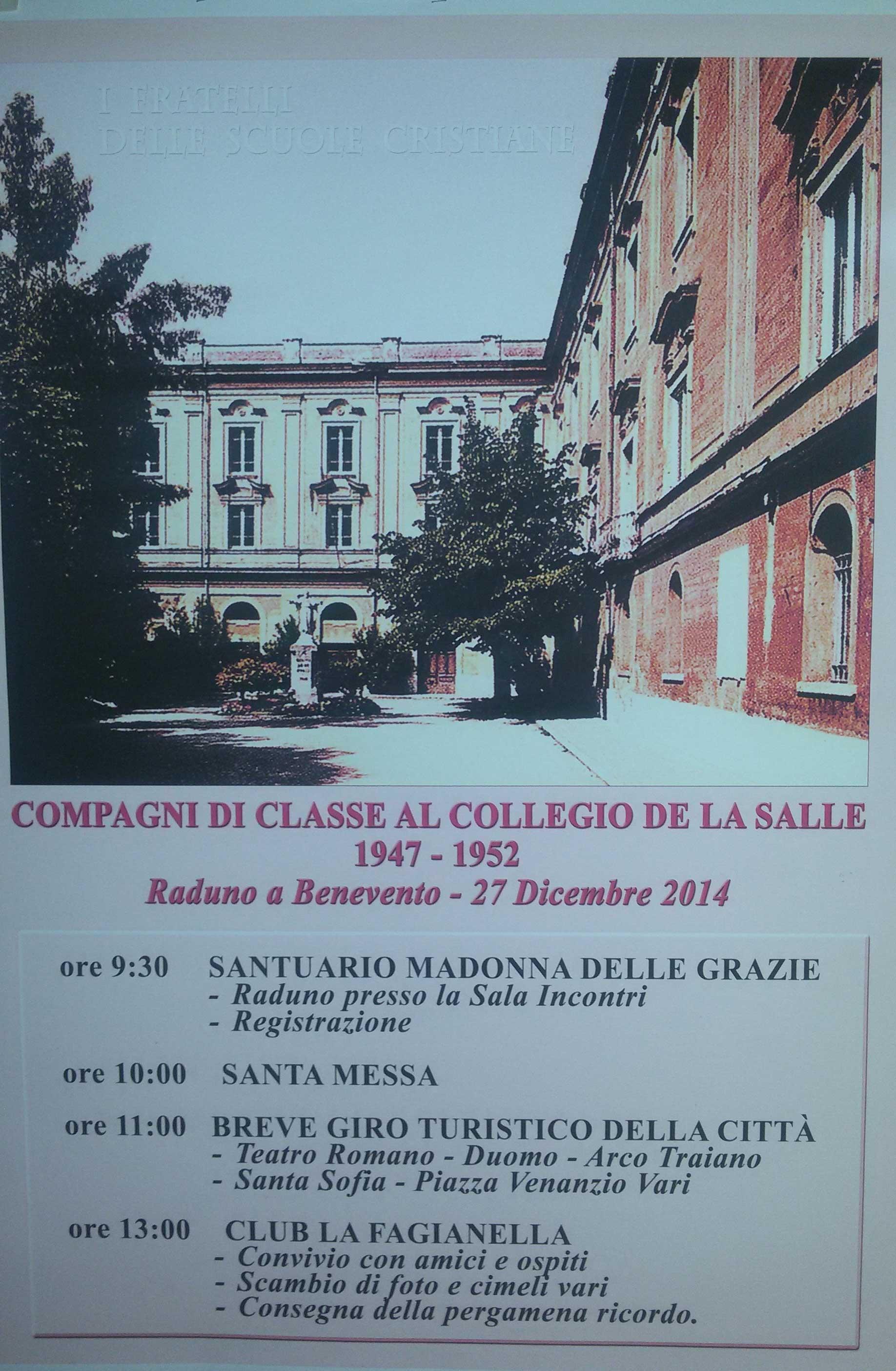 Il 27 dicembre incontro degli ex alunni del collegio 'La Salle'