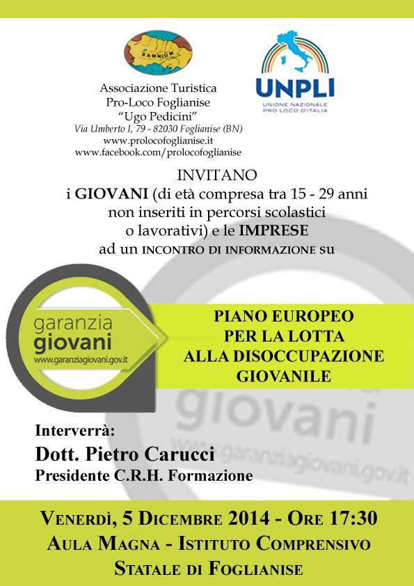 Oggi a Foglianise incontro informativo su Garanzia Giovani
