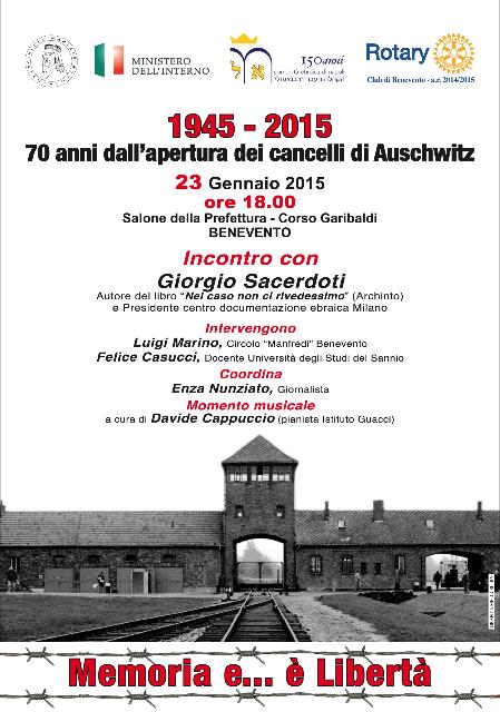 Giorgio Sacerdoti a Benevento in occasione del 'Giorno della Memoria'