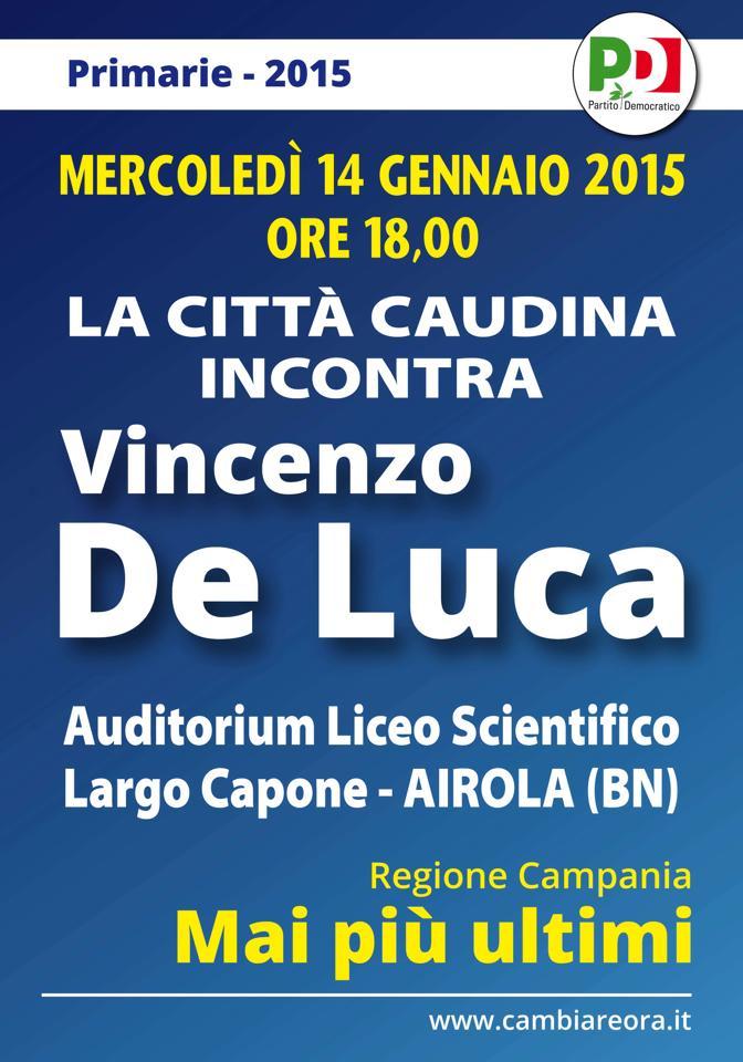 Vincenzo De Luca incontra il Sannio in vista delle prossime primarie