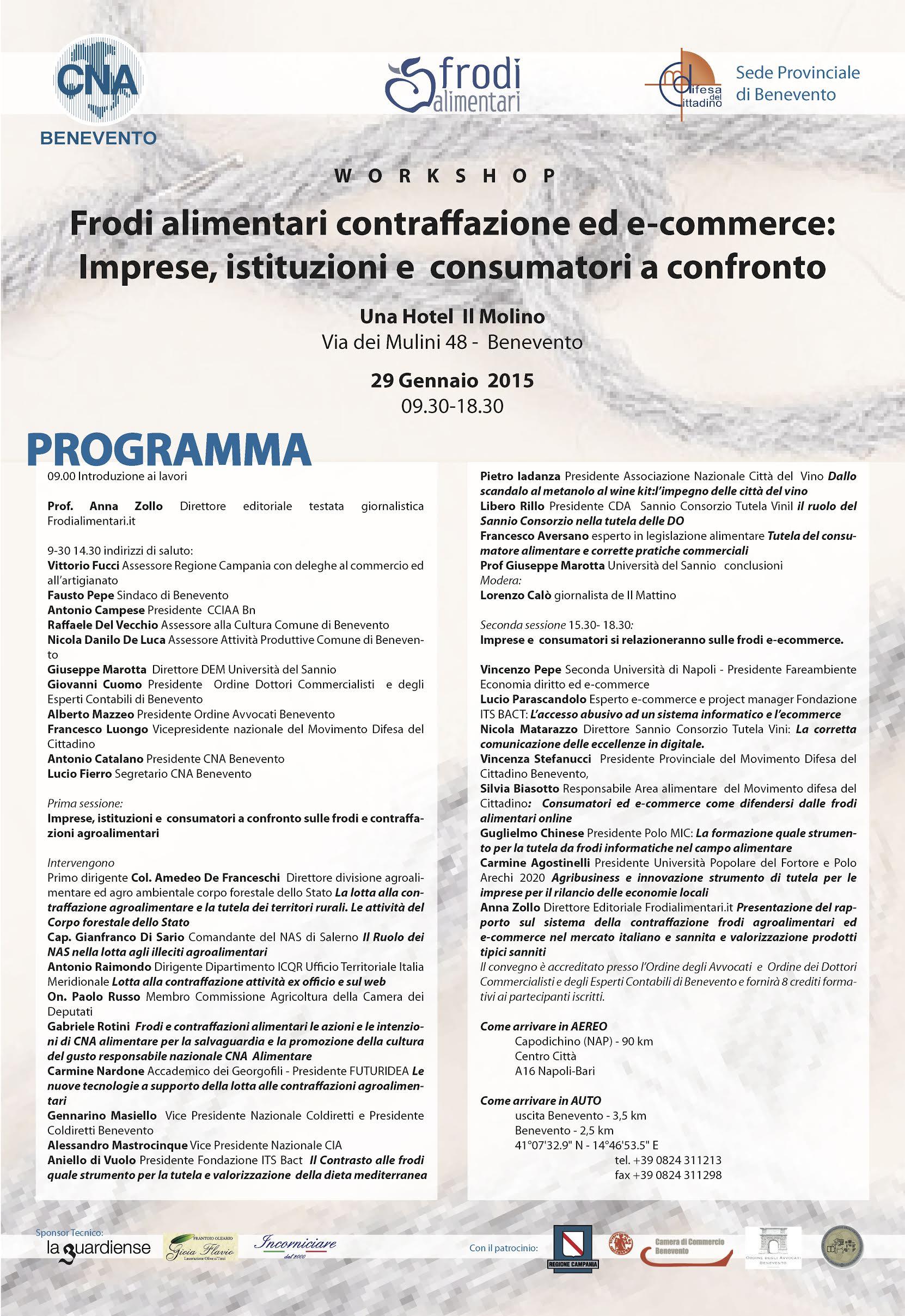 Workshop su frodi alimentari e contraffazioni. Presentato il dossier Sannio