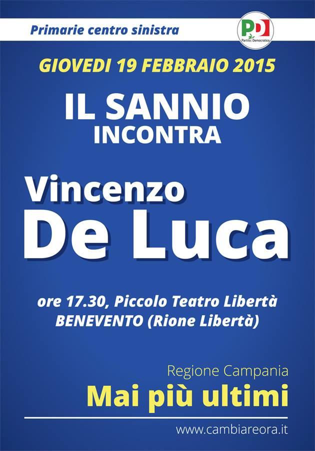 Appuntamento con il candidato Vincenzo De Luca oggi pomeriggio al rione Libertà