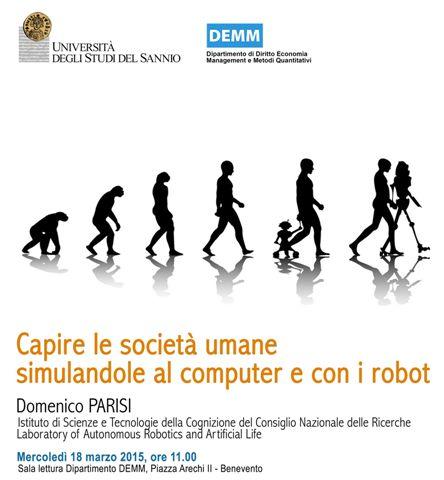 Unisannio, domani seminario su 'Capire le società umane simulandole al computer e con i robot'