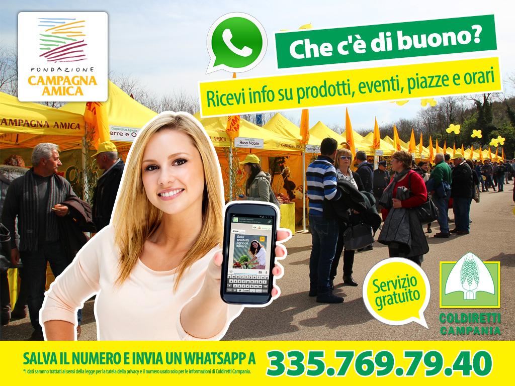 Coldiretti Campania lancia 'Che c'è di buono?', servizio informativo gratuito su whatsApp