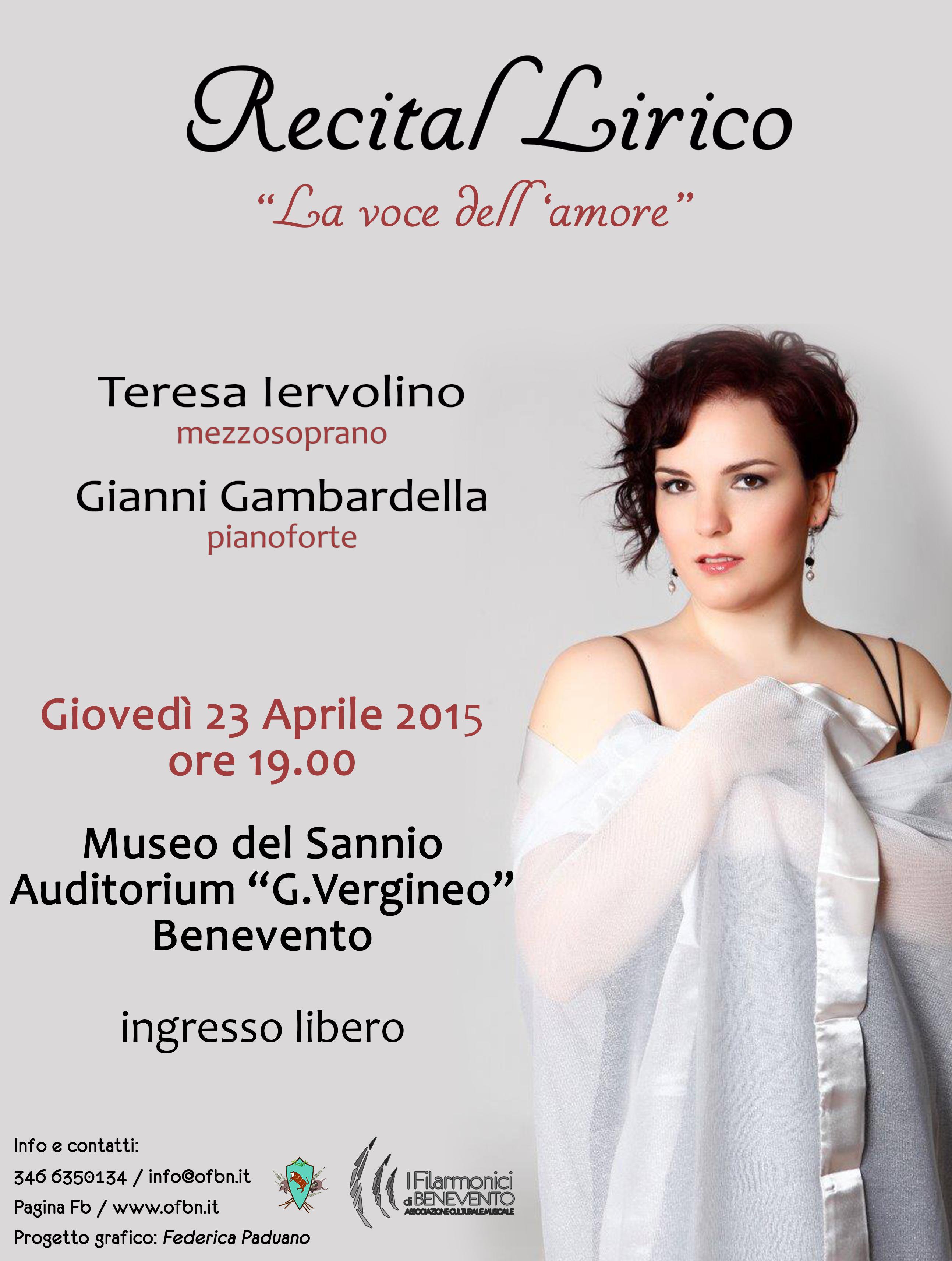Recital lirico 'La voce dell'amore' per la stagione concertistica dell'Orchestra Filarmonica di Benevento
