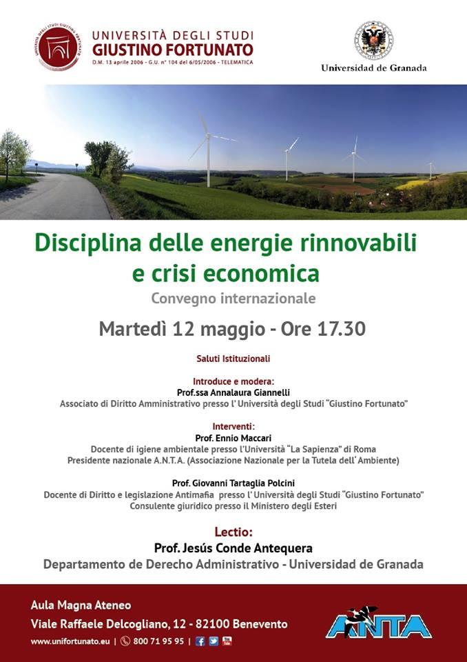 Unifortunato, convegno internazionale su 'Disciplina delle energie rinnovabili e crisi economica'