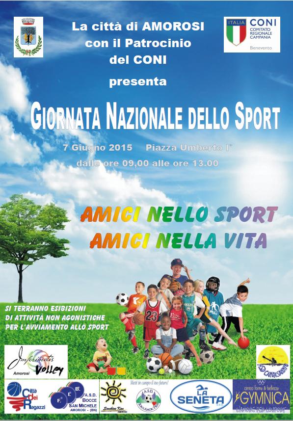 'Amici nello sport, amici nella vita' lo slogan animerà la 'Giornata Nazionale dello Sport' ad Amorosi