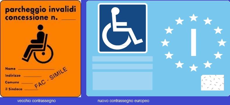 Nuovo contrassegno di parcheggio per disabili conforme alle norme europee