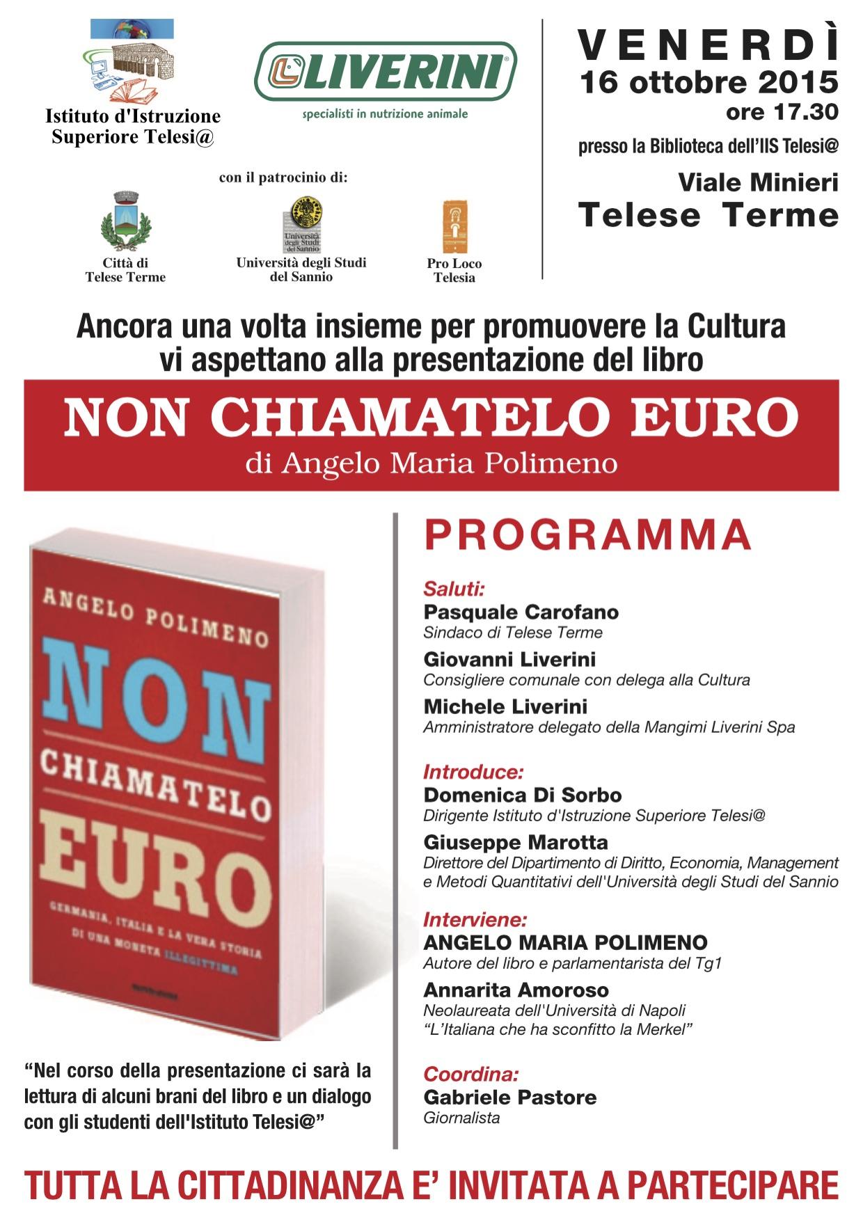 Presentazione all'Istituto Telesi@ del libro 'Non chiamatelo euro' di Angelo Maria Polimeno