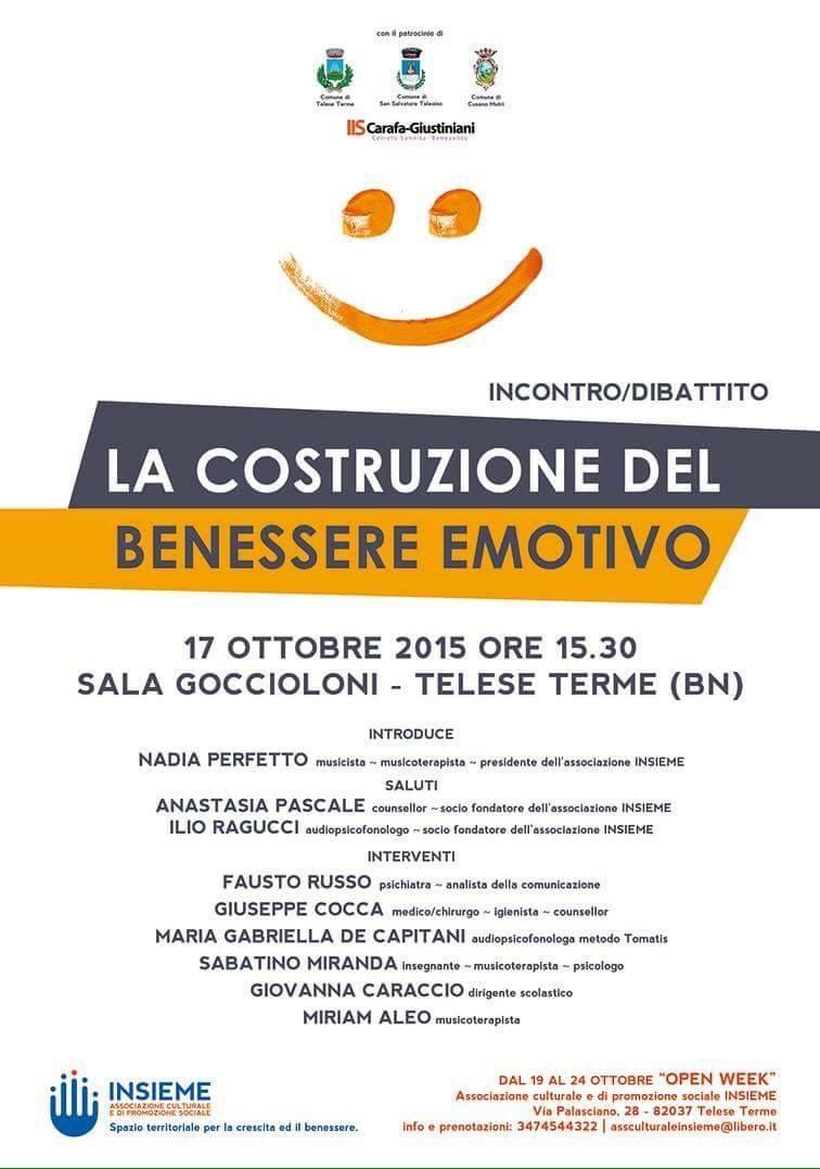 Dibattito a Telese Terme su 'Costruzione del benessere emotivo'