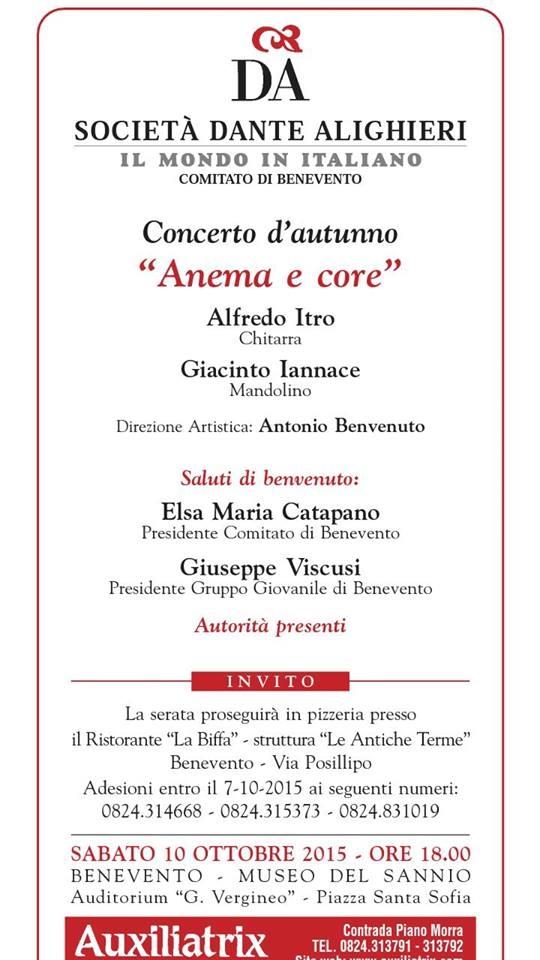 Con il concerto 'Anema e core' si inaugurano le attività per il 2015/2016 della società 'Dante Alighieri'