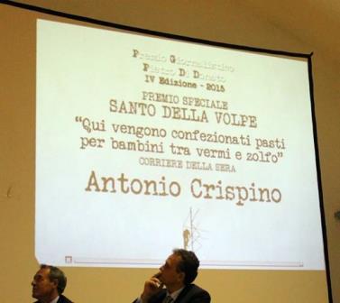Premiato il giornalista Antonio Crispino per la video-inchiesta relativa alla mensa scolastica di Benevento