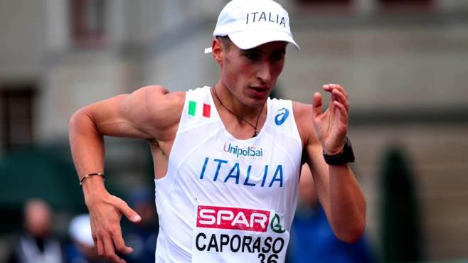 Festeggiamenti per l'atleta Teo Caporaso in marcia verso le Olimpiadi di Rio