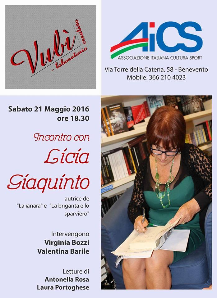 Incontro con la scrittrice Licia Giaquinto presso il Vubì di Benevento