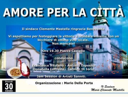 Benevento, il neosindaco Mastella ringrazia gli elettori con un concerto in piazza Castello