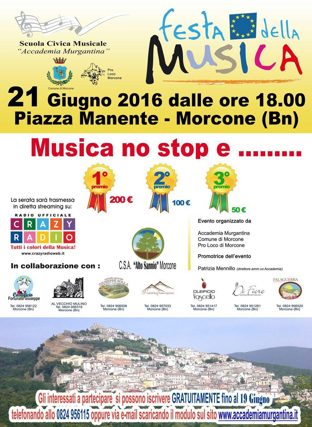 A Morcone, con il solstizio d'estate, si terrà la 'Festa della Musica'