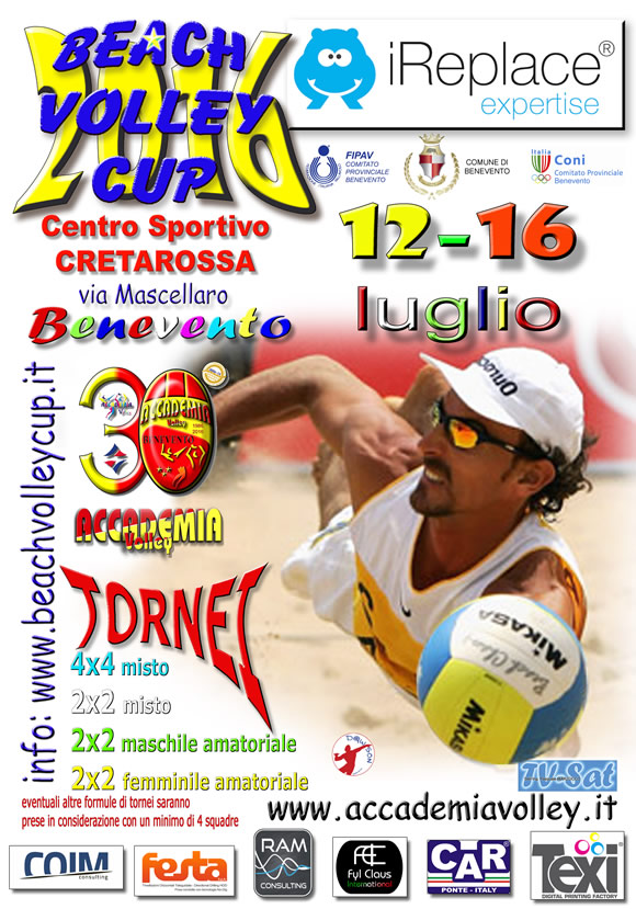 Benevento, domani al via la Beach Volley Cup 2016