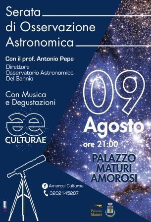 Amorosi, serata di osservazione astronomica a Palazzo Maturi