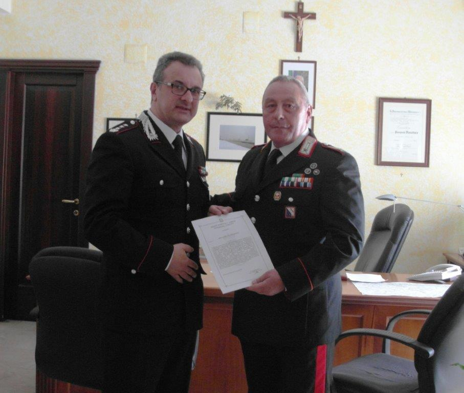 Elogio del comandante dei Carabinieri di Benevento al brigatiere Pengue