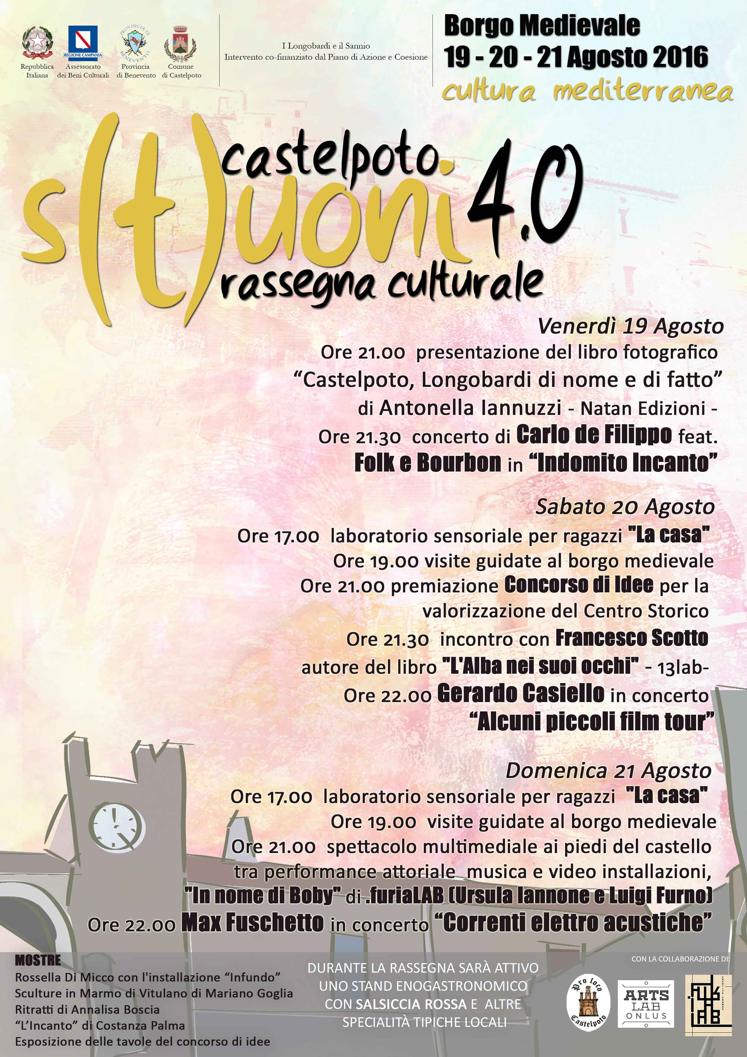 Torna a Castelpoto la rassegna culturale 'S(t)uoni' il cui tema sarà la cultura mediterranea