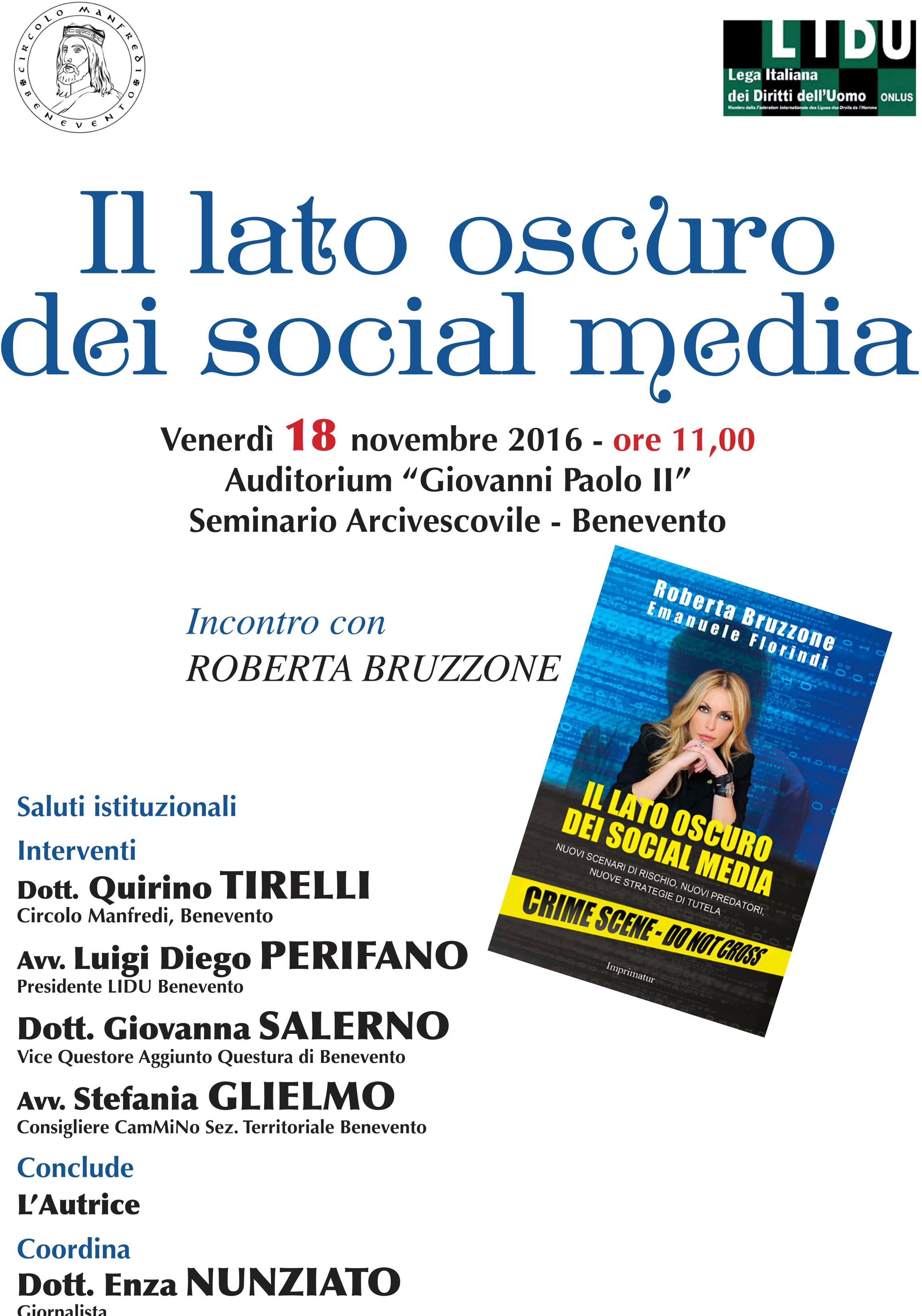 'Il lato oscuro dei social media', venerdì a Benevento seminario con la criminologa Bruzzone