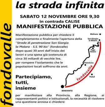 Strada di penetrazione San Giorgio la Molara S.S.90 bis, sabato manifestazione per sollecitare completamento e apertura al traffico