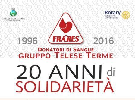 'Fratres Donatori di Sangue' gruppo Telese Terme festeggia il suo ventennale di attività e sensibilizzazione sul territorio