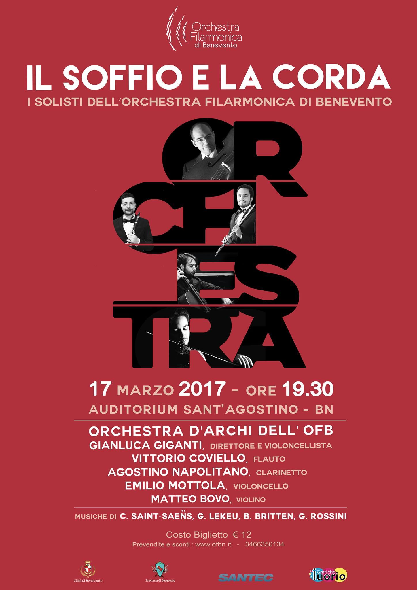 'Il Soffio e la Corda', venerdì secondo concerto dell'Orchestra Filarmonica di Benevento