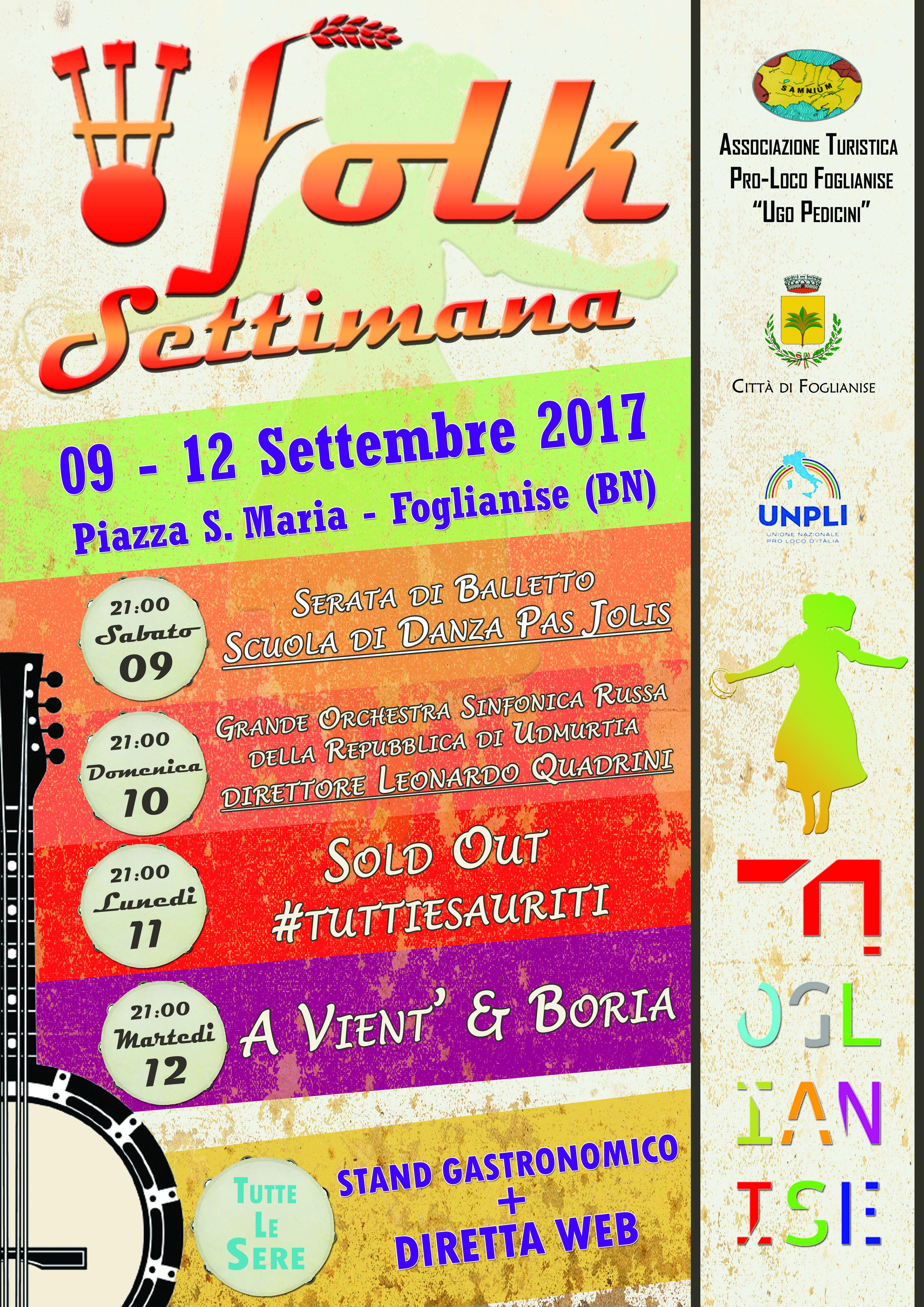 Parte oggi, a Foglianise, la storica 'Settimana Folkloristica'