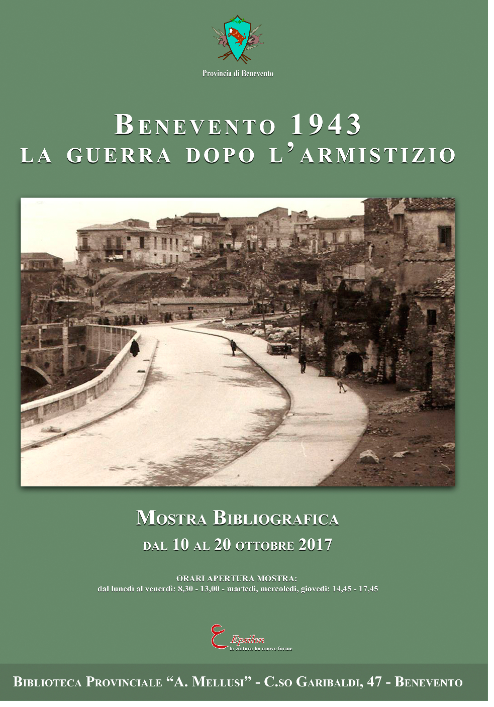 Alla Biblioteca Antonio Mellusi mostra sui bombardamenti che, nel '43, distrussero Benevento