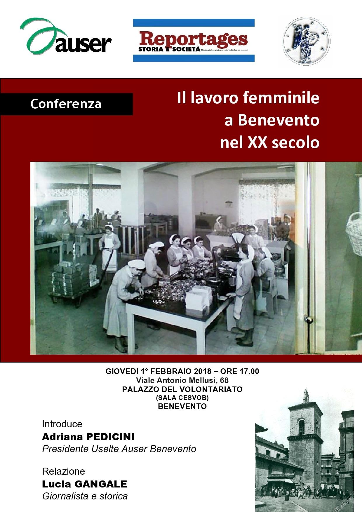 Conferenza sul tema del lavoro femminile a Benevento nel XX secolo
