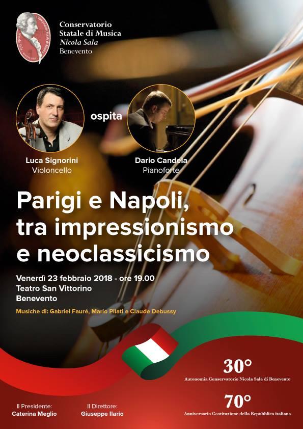 Il maestro Signorini, Conservatorio di Benevento, è Primo Violoncello dell'Orchestra del San Carlo di Napoli