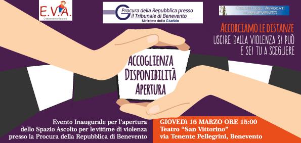 A breve attivo, presso la Procura di Benevento, lo Spazio ascolto vittime di violenza