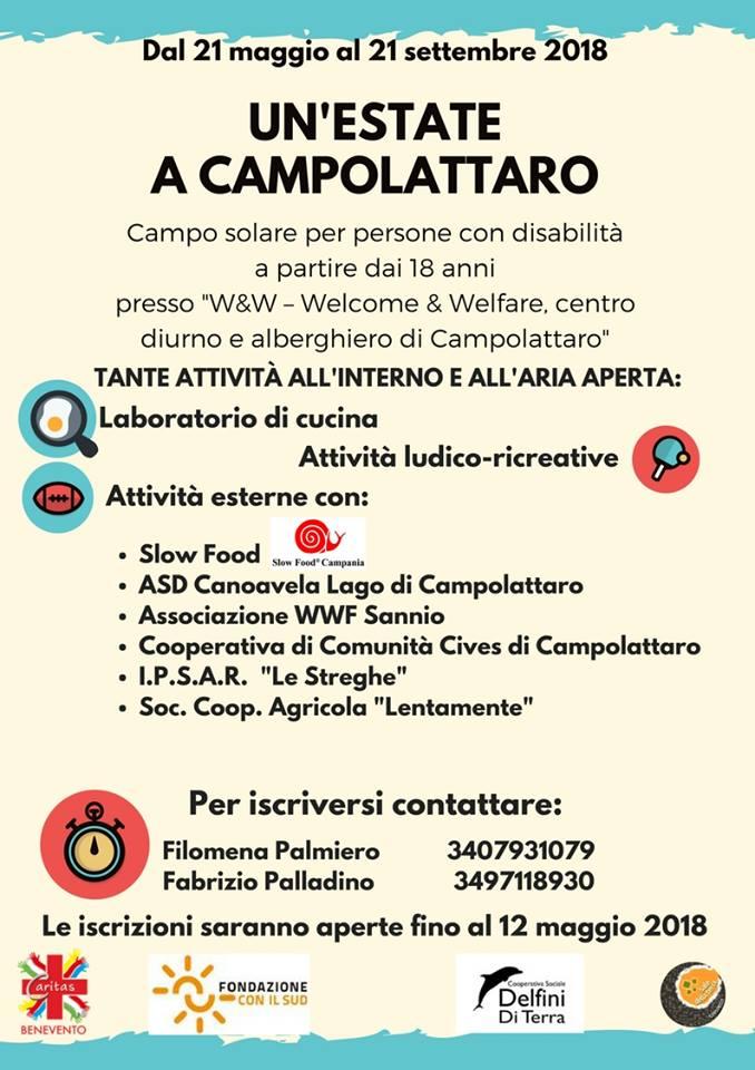 """Campo solare per persone disabili: """"Welcome & Welfare, centro diurno e alberghiero di Campolattaro"""