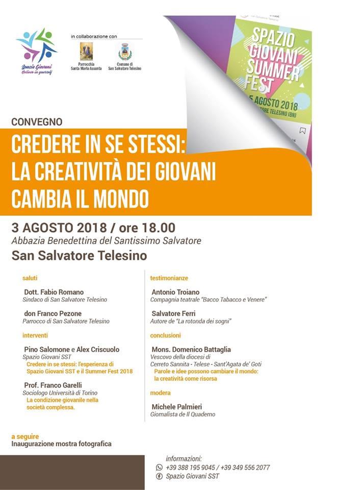 """San Salvatore Telesino, al via il Summer Fest del gruppo """"Spazio Giovani"""""""
