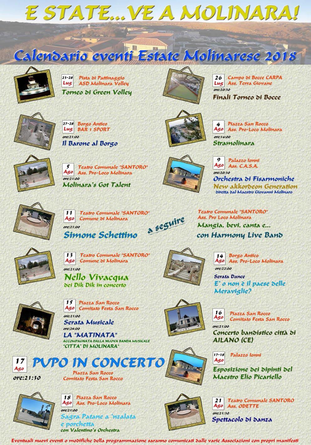 Estate ricca di eventi a Molinara. Il 17 agosto Pupo in concerto