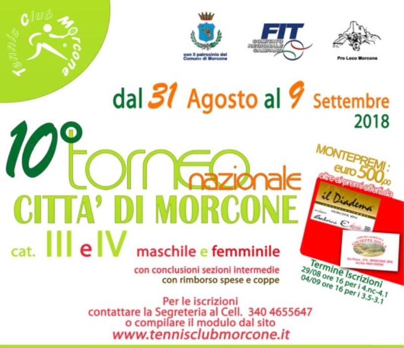 """10° Edizione Torneo di Tennis """"Città di Morcone"""" al via le iscrizioni"""