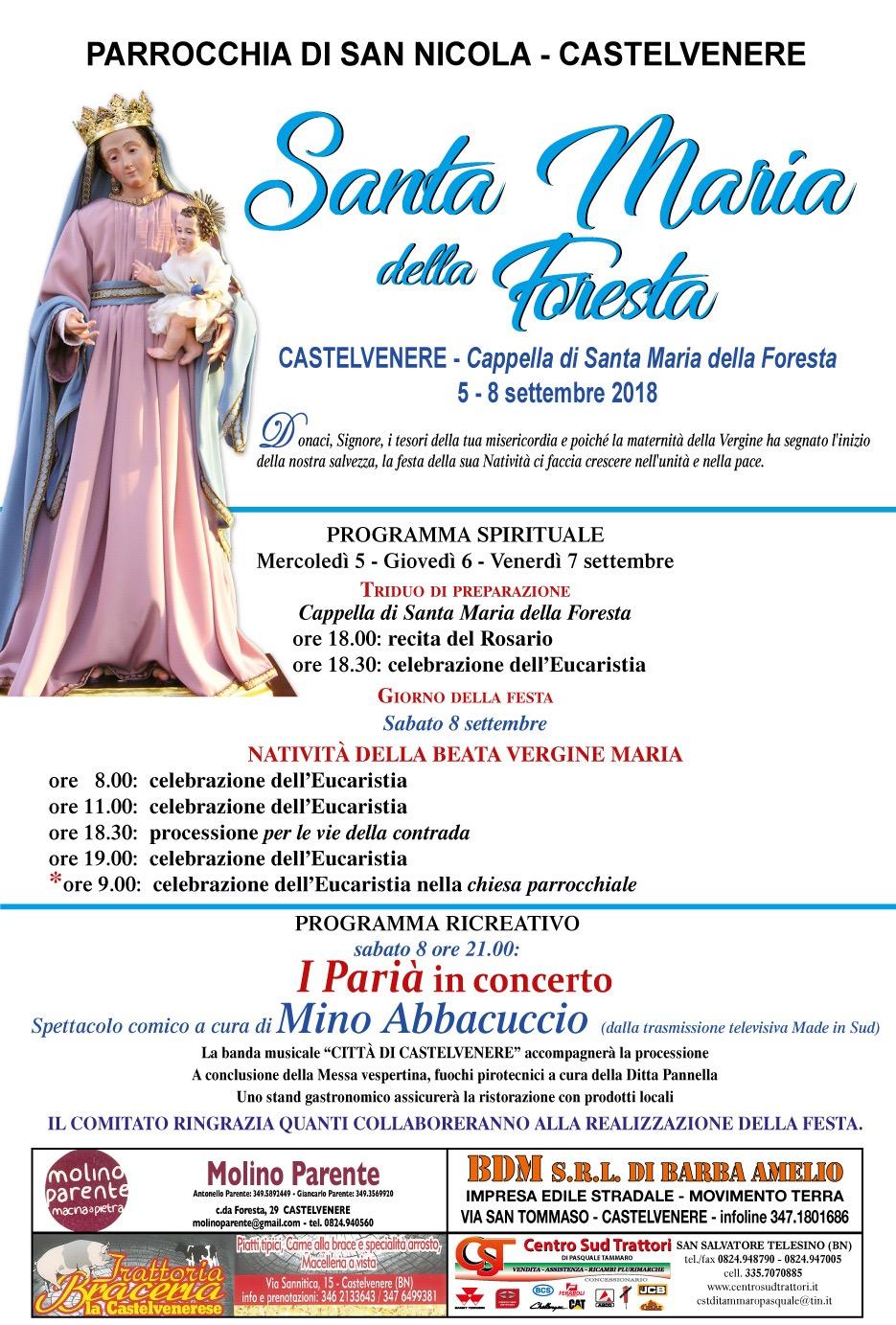 A Castelvenere tutto pronto per i Festeggiamenti in onore della Madonna della Foresta