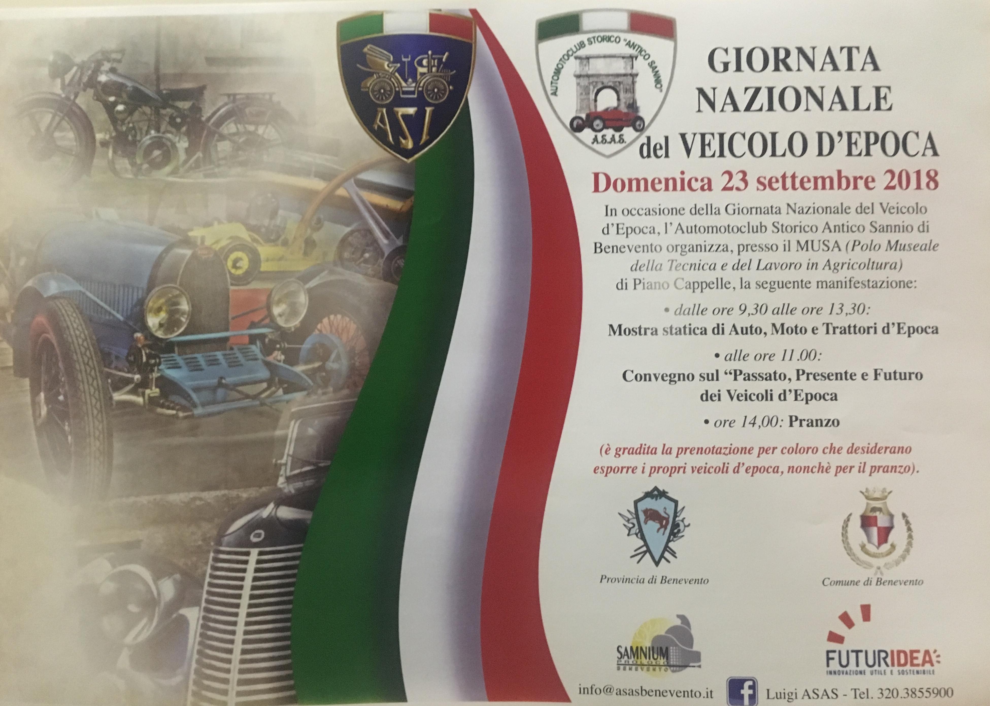 """A Benevento la """"Giornata Nazionale del Veicolo d'Epoca"""". Appuntamento domenica 23 settembr"""