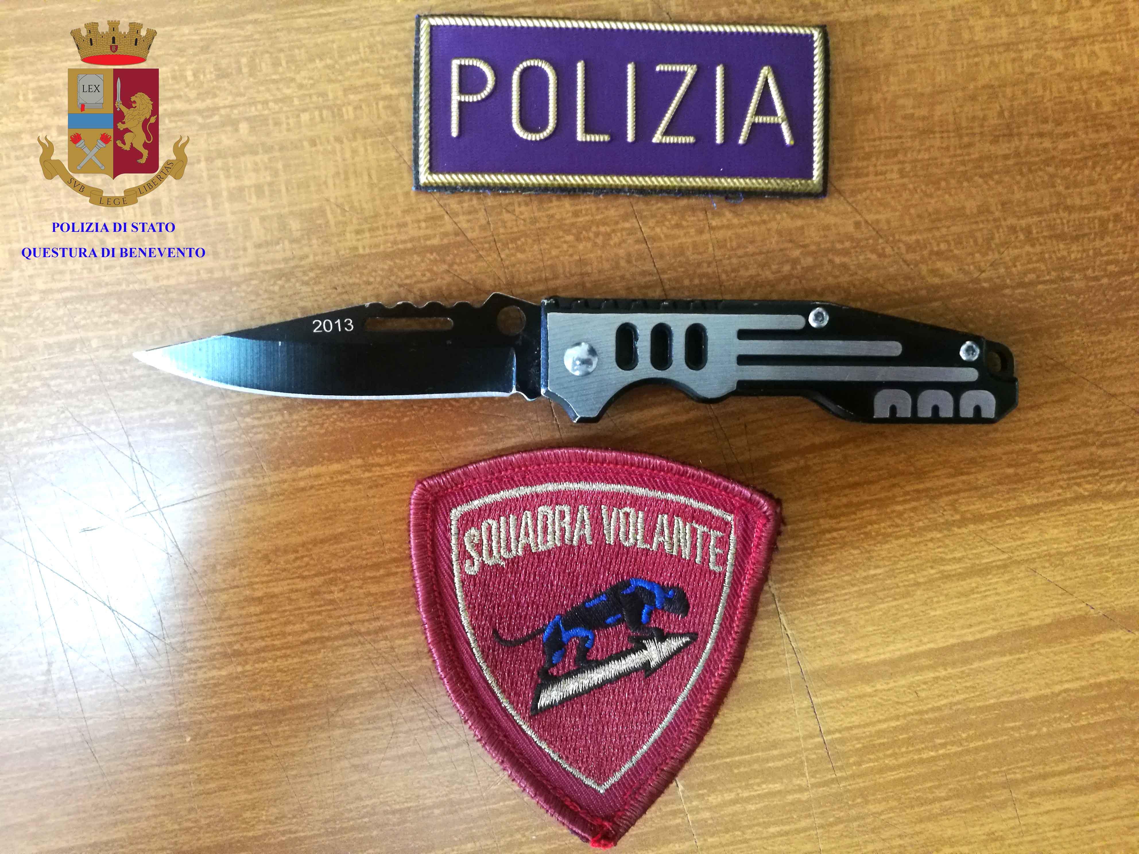 Trovato in possesso di un coltello a Telese Terme, pluripregiudicato denunciato dalla Polizia di Stato