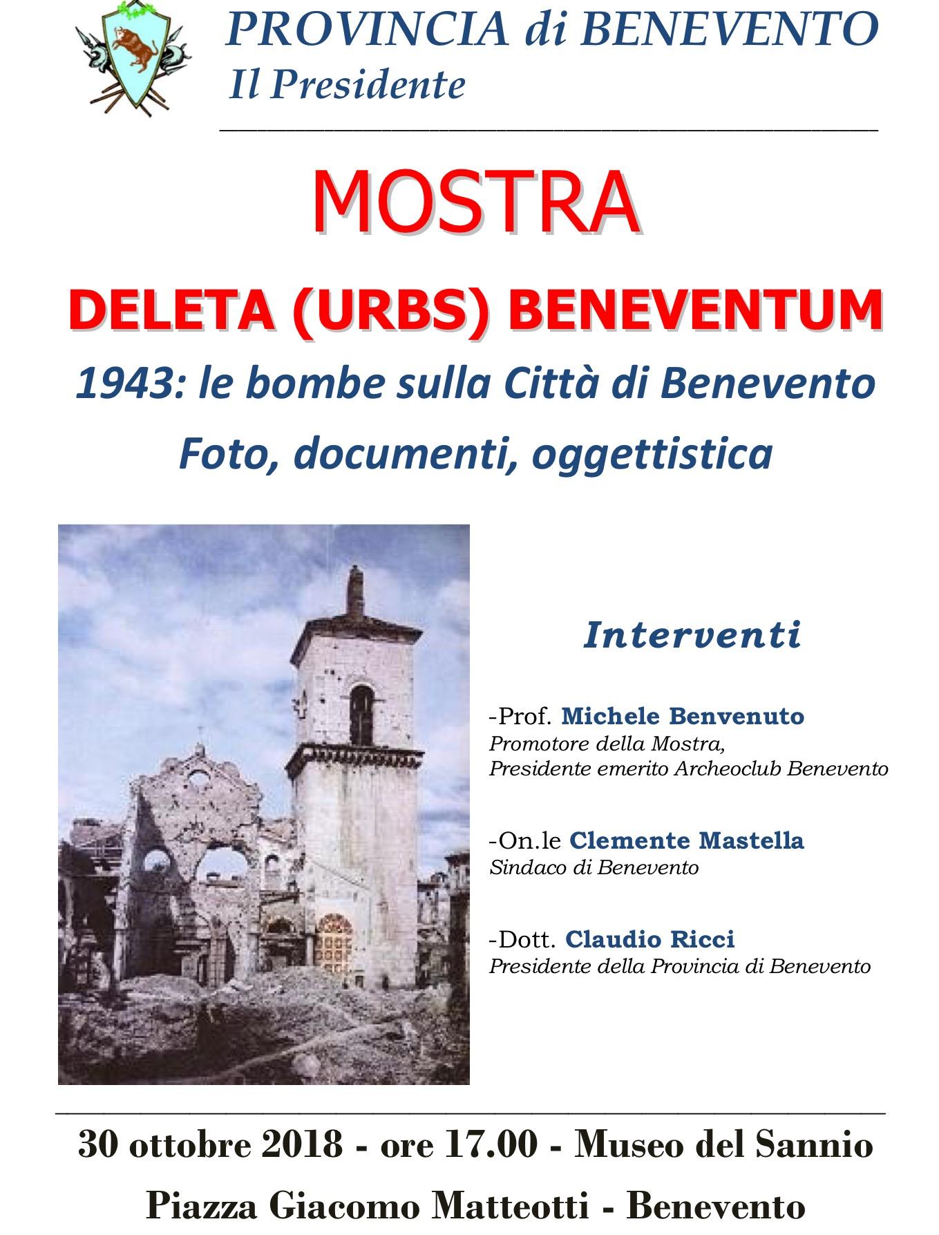 Dal 30 ottobre al Museo del Sannio mostra 'Deleta Urbs Beneventum', foto e documenti sul bombardamento del '43