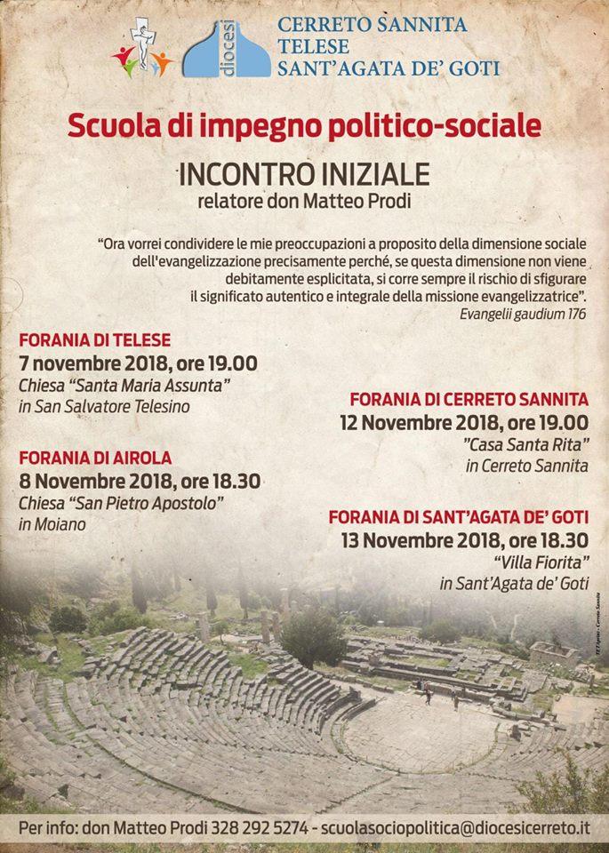 Scuola d'impegno politico-sociale, al via 4 incontri foraniali introduttivi tenuti da don Matteo Prodi
