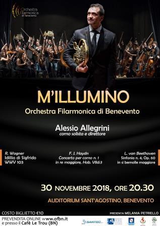 Il cornista Alessio Allegrini dirige l'Orchestra Filarmonica di Benevento all'Auditorium Sant'Agostino